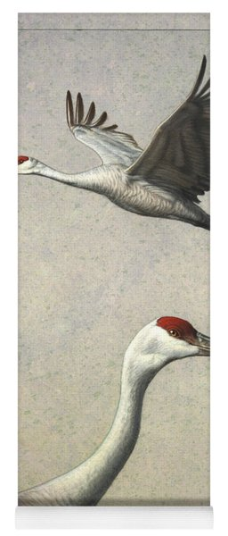 Yoga Mat featuring the painting Sandhill Cranes by James W Johnson