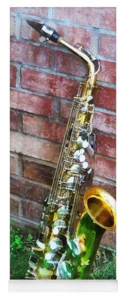 Saxophone Against Brick Yoga Mat