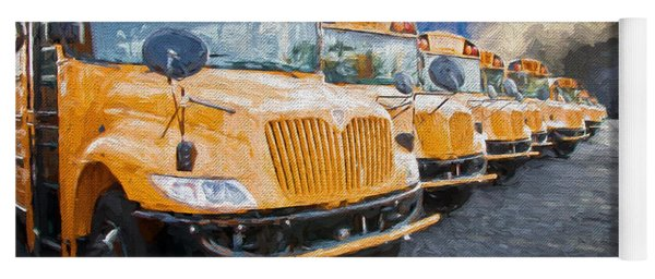School Bus Lot Painterly Yoga Mat