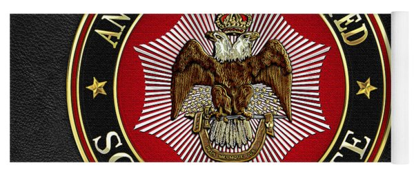 Scottish Rite Double-headed Eagle On Black Leather Yoga Mat