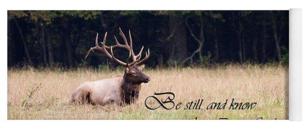Scripture Photo With Elk Sitting Yoga Mat