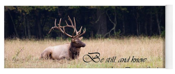 Scripture Photo With Elk Sitting Yoga Mat