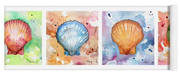 Sea Shells In Contrast Yoga Mat