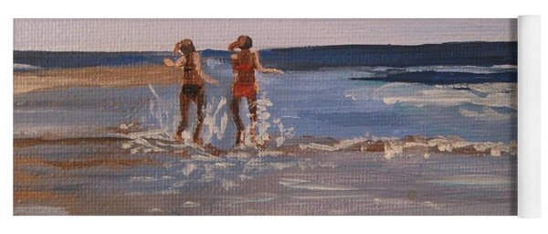 Sea Splashing On The Beach Yoga Mat