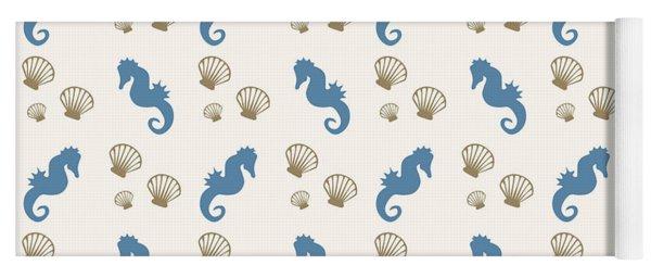 Seahorse And Shells Pattern Yoga Mat