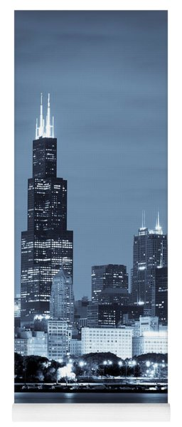 Yoga Mat featuring the photograph Sears Tower In Blue by Sebastian Musial