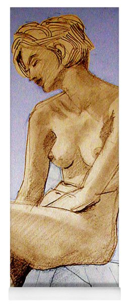 Tinted Figure Drawing Of A Seated Female Nude Dreaming Yoga Mat