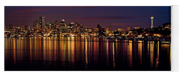 Seattle Night Reflections Yoga Mat