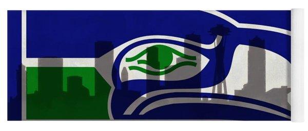 Seattle Seahawks On Seattle Skyline Yoga Mat