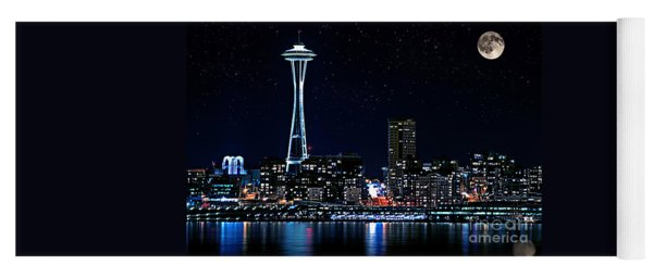 Seattle Skyline At Night With Full Moon Yoga Mat
