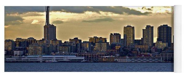Seattle Skyline In Twilight Yoga Mat