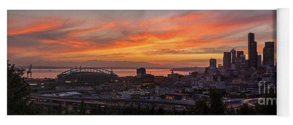 Seattle Under Fiery Skies Yoga Mat