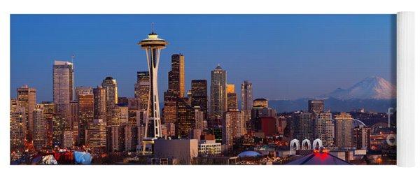 Seattle Winter Evening Panorama Yoga Mat