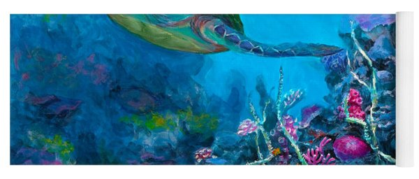 Secret Sanctuary - Hawaiian Green Sea Turtle And Reef Yoga Mat