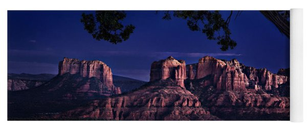 Yoga Mat featuring the photograph Sedona Cathedral Rock Post Sunset Glow by Mary Jo Allen