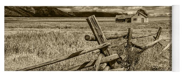 Sepia Colored Photo Of A Wood Fence By The John Moulton Farm Yoga Mat
