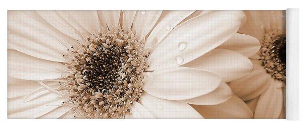 Sepia Gerber Daisy Flowers Yoga Mat