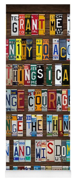Serenity Prayer Reinhold Niebuhr Recycled Vintage American License Plate Letter Art Yoga Mat
