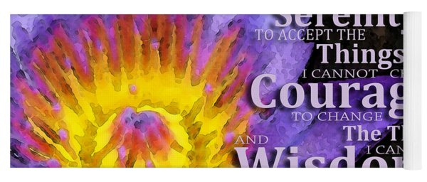 Serenity Prayer With Lotus Flower By Sharon Cummings Yoga Mat