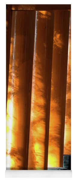 Shadows Of Tree Leaves On Gates Yoga Mat