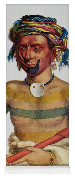 Shau-hau-napo-tinia, An Iowa Chief, 1837, Illustration From The Indian Tribes Of North America Yoga Mat