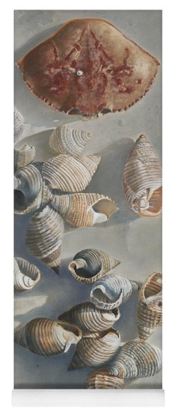 Shells On A Sandy Beach Yoga Mat