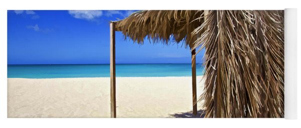 Shelter On A White Sandy Caribbean Beach With A Blue Sky And White Clouds Yoga Mat
