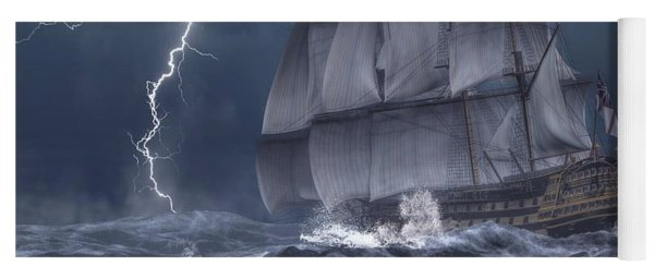 Ship In A Storm Yoga Mat