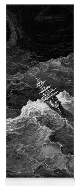 Ship In Stormy Sea Yoga Mat