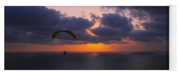 Silhouette Of A Person Paragliding Yoga Mat