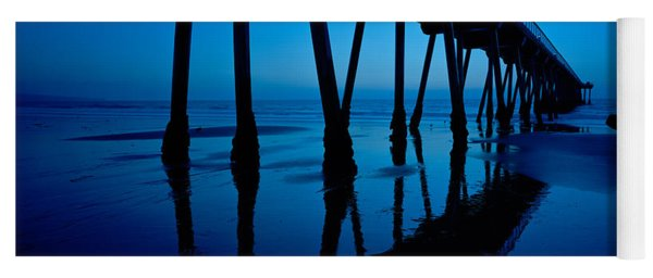 Silhouette Of A Pier, Hermosa Beach Yoga Mat
