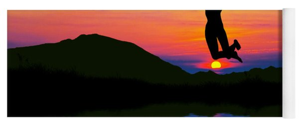 Silhouette Of Happy Woman Jumping At Sunset Yoga Mat