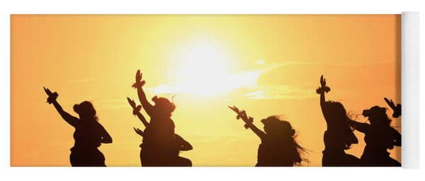 Silhouette Of Hula Dancers At Sunrise Yoga Mat