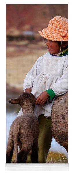 Sillustani Girl With Hat And Lamb Yoga Mat