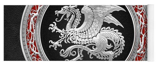 Silver Icelandic Dragon  Yoga Mat