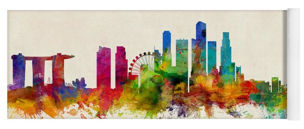 Singapore Skyline Yoga Mat
