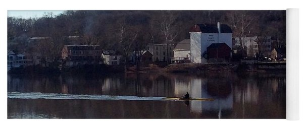 Single Scull On The Delaware Yoga Mat