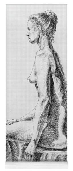 Sitting Woman Study Yoga Mat