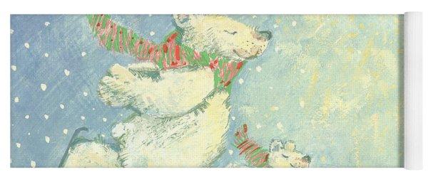 Skating Polar Bears Yoga Mat