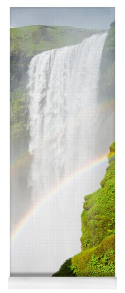 Skogafoss Waterfall In Iceland With Two Rainbows Yoga Mat