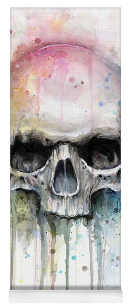 Skull Watercolor Painting Yoga Mat