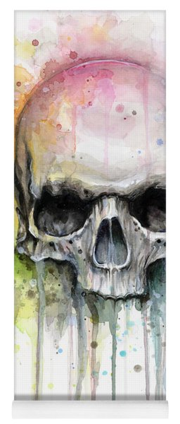 Skull Watercolor Painting Yoga Mat