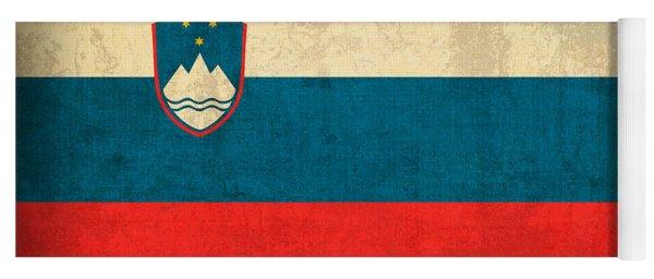 Slovenia Flag Vintage Distressed Finish Yoga Mat