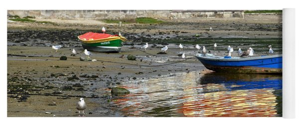 Small Boats And Seagulls In Galicia Yoga Mat