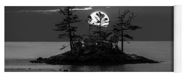 Small Island At Sunset In Black And White Yoga Mat