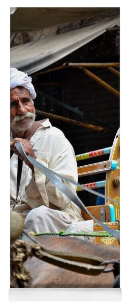 Smiling Man Drives Horse Carriage In Lahore Pakistan Yoga Mat