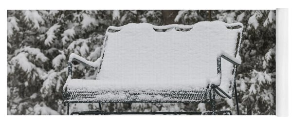 Snow Covered Bench Yoga Mat