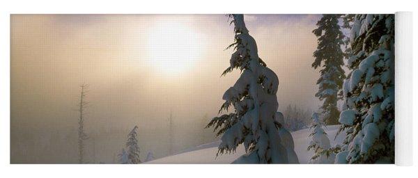 Snow-covered Pine Trees, Sunrise Yoga Mat