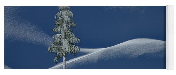 Yoga Mat featuring the digital art Snow Covered Tree And Mountains Color by David Dehner