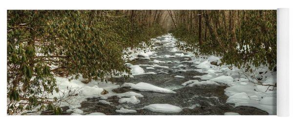 Snow Dots The Waters Of The Great Smoky Mountains National Park  Yoga Mat